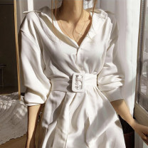 Dress Spring 2020 White, black Average size longuette singleton  Long sleeves commute High waist Solid color Single breasted 18-24 years old Other / other Korean version