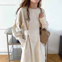 Dress Winter 2020 Apricot, black, red coffee Average size singleton  Long sleeves commute Crew neck High waist Solid color 18-24 years old Other / other Korean version