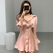Dress Autumn of 2019 White, black, pink S, M Short skirt singleton  Long sleeves commute 18-24 years old Other / other Korean version 81% (inclusive) - 90% (inclusive)