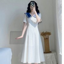Dress Summer 2021 white S,XL,2XL,3XL,L,M longuette singleton  Short sleeve commute V-neck High waist Solid color other A-line skirt routine Others 18-24 years old Type A Other / other Korean version A-line skirt 51% (inclusive) - 70% (inclusive) other polyester fiber