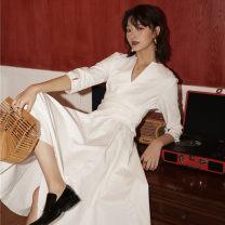 Dress Spring 2020 white S,M,L,XL Miniskirt singleton  three quarter sleeve commute High waist Others Type X Other / other 188#