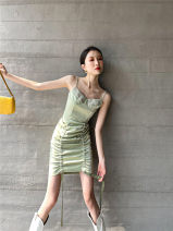 Dress Spring 2021 Light green S,M,L longuette singleton  Sleeveless commute One word collar High waist Decor Socket A-line skirt camisole 25-29 years old Type A printing polyester fiber