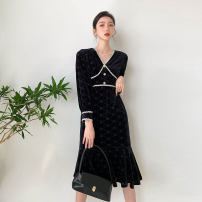 Dress Winter 2020 black XS,S,M,L Miniskirt singleton  Long sleeves commute V-neck High waist Solid color Socket other shirt sleeve 25-29 years old Type A Simplicity Splicing polyester fiber