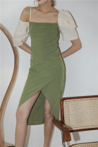 Dress Summer 2020 Grass green + cream yellow S,M,L Miniskirt singleton  Short sleeve commute One word collar High waist Solid color other Irregular skirt Pile sleeve camisole Other / other Pleating 1682# 51% (inclusive) - 70% (inclusive) other polyester fiber