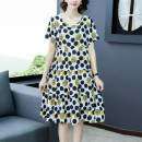 Dress Summer 2020 Flower 1, flower 3, flower 4, flower 5, flower 6, flower 8, flower 10, flower 11, flower 12, flower 13, flower 14, flower 15, flower 16, flower 17 M,L,XL,2XL,3XL Miniskirt singleton  Short sleeve Sweet Crew neck High waist Decor Socket Big swing other Others 35-39 years old Type A