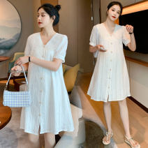 Dress Other / other White, white (quality version) M,L,XL,XXL Korean version Short sleeve routine summer other Solid color Pure cotton (95% and above)