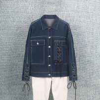 short coat Spring 2020 S,M,L,XL,2XL navy blue Long sleeves have cash less than that is registered in the accounts routine singleton  easy Versatile routine square neck Single breasted Solid color 30-34 years old Other / other 96% and above cotton cotton