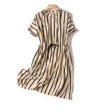 Dress Autumn 2020 Rice bottom black stripe, black bottom rice stripe, short sleeve top S,M,L,XL,2XL,3XL singleton  Short sleeve stripe 18-24 years old Allie Aixi polyester fiber
