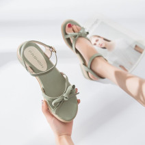 Sandals 35,36,37,38,39 Green, beige, order free freight insurance! Return and exchange of freight PU Other / other Barefoot Thick heel Low heel (1-3cm) Summer 2020 Flat buckle Sweet Solid color Youth (18-40 years old), children (under 18 years old) TPR (tendon) daily Bow tie, thick heel PU PU Shaving
