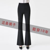 Casual pants Black seamless, black middle seam 27,28,29,30,31,32,33 Spring 2021 trousers Flared trousers High waist commute routine 91% (inclusive) - 95% (inclusive) Pinge Dixin nylon pocket nylon