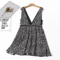 Dress Summer 2020 White flower, black flower 36,38 Short skirt singleton  commute V-neck High waist Decor straps Type H Korean version A12-16-20295