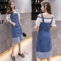 Dress Summer 2021 Blue (one piece denim skirt) S,M,L,XL,2XL,3XL,4XL,5XL Mid length dress singleton  commute High waist Single breasted A-line skirt straps Type A Korean version Strap, button Denim