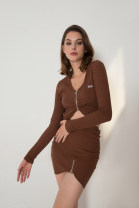 Fashion suit Autumn 2020 XS (4.5), s (4.5), m (4.5), l (4.5) Light green suit, dark brown suit, light green top, light green skirt, dark brown top, dark brown skirt 96% and above cotton