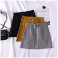 skirt Summer of 2018 S M L Grey black yellow Short skirt Versatile High waist Solid color Type H 18-24 years old 0807365 31% (inclusive) - 50% (inclusive) PU