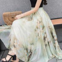skirt Summer of 2019 M,L,XL longuette Versatile High waist Fairy Dress Broken flowers Type A Chiffon Other / other