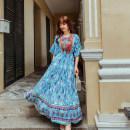 Dress Summer 2020 Red, blue S,M,L,XL longuette singleton  Elastic waist Embroidery, printing
