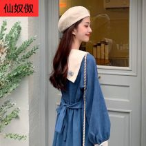 Women's large Winter 2020, autumn 2020 Blue, collect and purchase first M [80-100 Jin], l [100-120 Jin], XL [120-140 Jin], 2XL [140-160 Jin], 3XL [160-180 Jin], 4XL [180-200 Jin] Dress singleton  Sweet easy thick Socket Long sleeves Solid color Admiral Cotton, others Three dimensional cutting Bandage