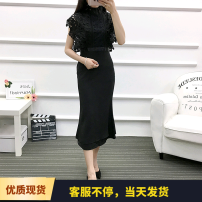 Dress Summer of 2018 Black, off white S,M,L longuette singleton  Elastic waist Solid color One pace skirt Others Chiffon