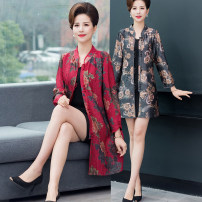 Middle aged and old women's wear Spring 2020 Red, gray L,XL,XXL,XXXL,4XL Happiness Dress Self cultivation singleton  50-59 years old Cardigan moderate stand collar Single breasted Medium length