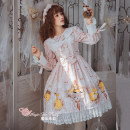 Dress Autumn of 2018 Grey powder, light blue S,M,L,XL Middle-skirt singleton  Long sleeves Crew neck middle-waisted Animal design zipper Big swing bishop sleeve Magic tea party Bow, ruffle, lace, lace, print