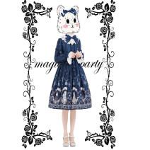 Lolita / soft girl / dress Magic tea party Dark blue, dark red S,M,L,XL Lolita