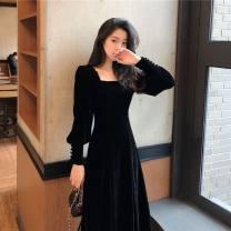 Dress Autumn 2020 Black, white vest S,M,L,XL,2XL longuette singleton  Long sleeves commute square neck High waist Solid color Socket Other / other Retro