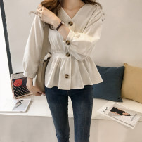 Women's large Spring of 2018 Army green, white, black, boat socks Big XL, big XXL, big XXXL, big L, m, s shirt singleton  commute Self cultivation moderate Cardigan Long sleeves Solid color Korean version V-neck routine cotton Three dimensional cutting Bat sleeve Other / other