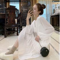Dress Autumn 2020 white S,M,L,XL singleton  Long sleeves commute Crew neck Elastic waist Solid color Socket routine 18-24 years old Korean version bow brocade cotton