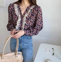 shirt Purple, pink S,M,L,XL other 31% (inclusive) - 50% (inclusive) Long sleeves Regular V-neck Single row multi button Broken flowers Self cultivation Lace