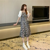Dress High waist Type A lady Summer 2021 Medium length skirt Short sleeve singleton  commute Design and color A-line skirt square neck 18-24 years old puff sleeve 51% (inclusive) - 70% (inclusive) other polyester fiber Other other S,M,L,XL,2XL