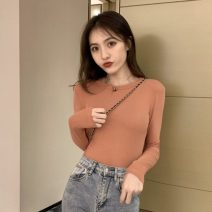 T-shirt Average size Autumn 2020 Long sleeves Crew neck Straight cylinder Regular routine commute other 30% and below 18-24 years old Korean version Solid color Other / other