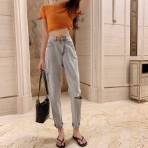 Jeans Spring 2020 trousers High waist routine 18-24 years old light colour BYW96 S,M,L blue