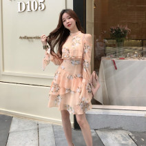 Dress Spring 2020 Yellow flowers S, M Mid length dress singleton  Nine point sleeve commute Half high collar High waist Decor Socket Ruffle Skirt pagoda sleeve 18-24 years old Other / other Korean version BYW150
