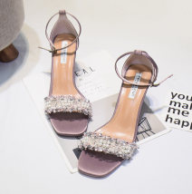 Sandals 34 35 36 37 38 39 Black apricot Lavender Other / other Silk and satin Barefoot Thick heel High heel (5-8cm) Summer of 2018 Flat buckle Korean version Solid color Adhesive shoes Youth (18-40 years old) rubber daily Bag heel Buckle flower with shallow mouth and thick heel Low Gang Lateral space