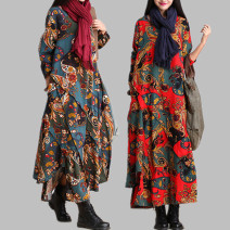 Dress Autumn of 2019 Red, blue M [suggested 90 ~ 110 kg], l [suggested 110 ~ 125 kg], XL [suggested 125 ~ 135 kg], XXL [suggested 135 ~ 145 kg] longuette singleton  Long sleeves commute Crew neck middle-waisted Decor Socket Irregular skirt routine Type A Other / other ethnic style Pocket, print hemp
