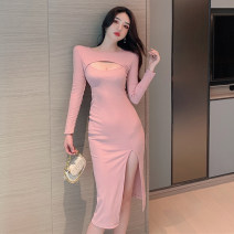 Dress Autumn 2020 Pink, green, black S,M,L Mid length dress singleton  Long sleeves commute Crew neck middle-waisted Solid color Socket One pace skirt routine Others 18-24 years old Type X Korean version Hollowing out 71% (inclusive) - 80% (inclusive) brocade cotton