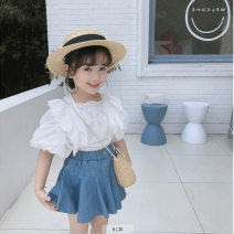 suit Other / other White top, denim skirt 7(90cm),9(100cm),11(110cm),13(120cm),15(130cm) female summer Socket nothing children Expression of love 2 years old, 3 years old, 4 years old, 5 years old, 6 years old