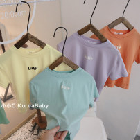 T-shirt Purple, beige, bean green, orange Other / other 7(90cm),9(100cm),11(110cm),13(120cm),15(130cm) female summer Short sleeve Crew neck Korean version nothing other other other Three, six, two, five, four