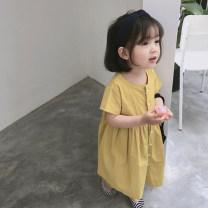 Dress Yellow, blue female Other / other 7(90cm),9(100cm),11(110cm),13(120cm),15(130cm) Other 100% summer Korean version Short sleeve Solid color other other 2 years old, 3 years old, 4 years old, 5 years old, 6 years old