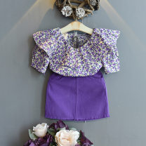 suit Other / other violet 7(100cm),9(110cm),11(120cm),13(130cm),15(140cm) female summer Korean version Short sleeve + skirt 2 pieces Socket nothing Broken flowers children Expression of love Three, six, two, five, four