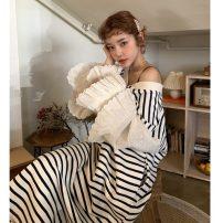 Dress Autumn 2020 Average size longuette singleton  Long sleeves V-neck High waist stripe Socket pagoda sleeve 18-24 years old