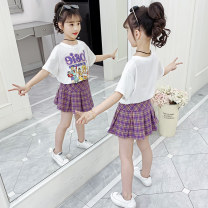 suit Maizimico Purple white 110cm 120cm 130cm 140cm 150cm 160cm female summer Cartoon Short sleeve + skirt 2 pieces Thin money There are models in the real shooting Socket nothing Cartoon animation cotton children Learning reward JSKE-W107 Class B Other 100% Summer 2021