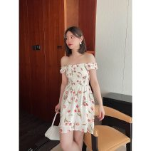 Dress Spring 2021 tulips S, M Middle-skirt singleton  Short sleeve Sweet square neck High waist Big flower Socket A-line skirt Princess sleeve Others 25-29 years old Type A More than 95% Chiffon polyester fiber Countryside