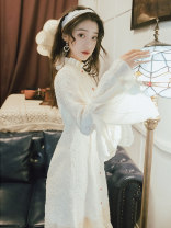 Dress Summer 2021 Off white S,M,L longuette singleton  Long sleeves commute stand collar High waist Solid color Single breasted A-line skirt pagoda sleeve Type X Retro Auricularia auricula, stitching, button