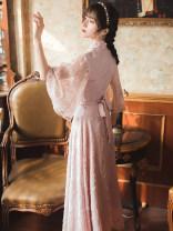 Dress Summer 2021 Pink, apricot S,M,L Mid length dress singleton  three quarter sleeve commute stand collar High waist Solid color zipper A-line skirt pagoda sleeve Type A literature Crochet, cutout, stitching, button, lace