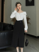 Fashion suit Spring 2021 S,M,L,XL White shirt + black skirt