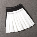 skirt Spring 2021 S,M,L,XL Black, white Short skirt commute High waist Pleated skirt Solid color Type A 25-29 years old Korean version