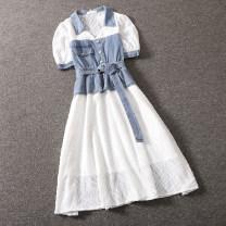 Dress Summer 2020 Denim blue S,M,L Short skirt singleton  Short sleeve commute square neck High waist Socket A-line skirt shirt sleeve 25-29 years old Type A Korean version