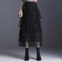 skirt Summer 2021 1/XS,2/S,3/M,4/L,5/XL black Mid length dress Versatile High waist Cake skirt Solid color Type A 5200132-1105417-001 91% (inclusive) - 95% (inclusive) Brother amashsin polyester fiber Gauze