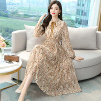 Dress Spring 2021 Apricot 2/S,3/M,4/L,5/XL,6/2XL Mid length dress singleton  Long sleeves commute Polo collar High waist Broken flowers zipper A-line skirt bishop sleeve Others Type A Brother amashsin lady Bow, fold, lace, strap, zipper More than 95% Chiffon silk